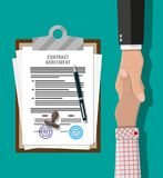 Contract agreement paper and handshake. Contract agreement paper blank with seal, pen and handshake. Businessmen shake hands after successful deal. Vector royalty free illustration