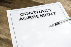Contract agreement paper stock image