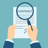 Contract analyzing with magnifyer. stock illustration