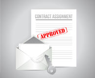 Contract assignment approved concept illustration. Design background Stock Photo