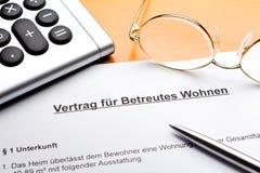 Contract Vertrag betreutes Wohnen Royalty Free Stock Photos