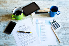 Contract and Business Plan Stock Image