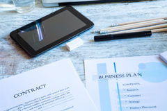 Contract and Business Plan Royalty Free Stock Photo