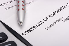 Contract of Carriage Stock Image