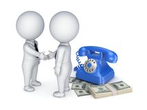 Contract concept. 3d people shaking hands near vintage telephone and big pack of money Royalty Free Stock Image