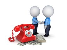 Contract concept. 3d people shaking hands near vintage telephone and big pack of money Stock Photo