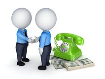 Contract concept. 3d people shaking hands near vintage telephone and big pack of money Royalty Free Stock Photography