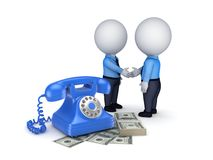 Contract concept. 3d people shaking hands near vintage telephone and big pack of money Stock Photography