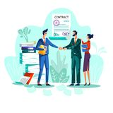 Contract conclusion concept vector illustration. Satisfied businessmen shake hands against signed agreement with seal and signatures, woman stands behind back stock illustration