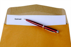 Contract, contract in folder Royalty Free Stock Photography