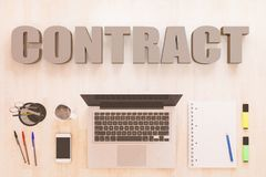 Contract. Text concept with notebook computer, smartphone, notebook and pens on wooden desktop. 3D render illustration. business agreement finance document vector illustration