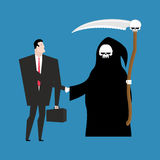 Contract with death. Grim Reaper and businessman shaking hands. Royalty Free Stock Image