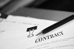 Contract on Desk Stock Photography