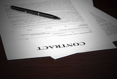 The contract on desktop Stock Photography
