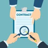 Contract die handdruk ondertekenen vector illustratie