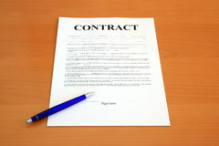 Contract document Stock Photos