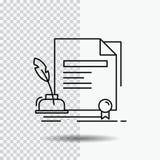 contract, document, document, overeenkomst, het Pictogram van de toekenningslijn op Transparante Achtergrond Zwarte pictogram vec royalty-vrije illustratie