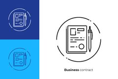 Contract documents line art vector icon. Finance contract line art icon, verified business agreement vector art, outline digital signature illustration Royalty Free Stock Photo