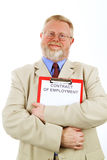 Contract of employment. Senior businessman is holding a contract of employment Stock Photography
