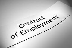Contract of employment. Close up of Contract of Employment title page stock images