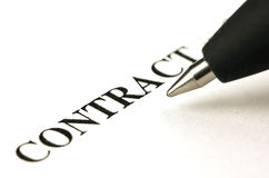 Contract en pen Stock Foto's