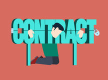 Contract fetter business concept flat vector. Contract fetter business concept. Man chained abstract contract-word manacles. Flat style conceptual vector Stock Image