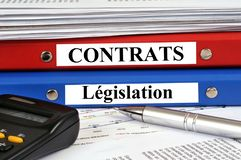Contract files and written legislation in French stock images