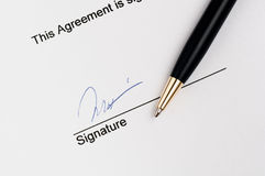 Contract finished with signature Stock Photos