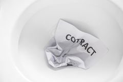 Contract flush away Royalty Free Stock Image