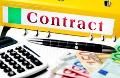 Contract word on folder Royalty Free Stock Photo