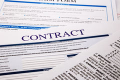 Contract form Royalty Free Stock Photo