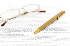 Contract with glasses Royalty Free Stock Image