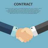 Contract. Handshake. Contract concept in flat design Royalty Free Stock Images