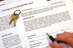 Contract of Home Sale Stock Photos