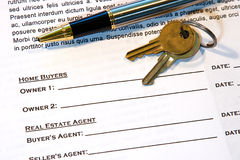 Contract of Home Sale Stock Photography