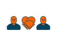 Contract icon. Negotiation of concept. Boss icon and handshake. Business symbol Stock Photos