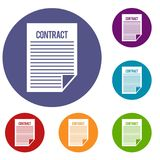 Contract icons set. In flat circle reb, blue and green color for web Stock Photography
