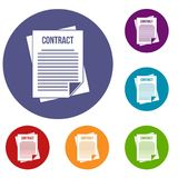 Contract icons set. In flat circle reb, blue and green color for web Stock Photos