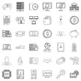 Contract icons set, outline style Stock Photography
