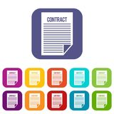 Contract icons set. Vector illustration in flat style In colors red, blue, green and other Royalty Free Stock Photo