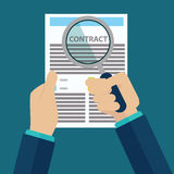 Contract inspection concept - Hand holding magnifying glass over a contract - Flat style Royalty Free Stock Photos