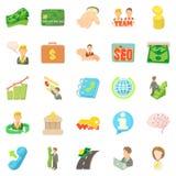 Contract job icons set, cartoon style Royalty Free Stock Image