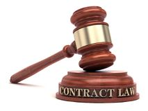 Contract Law. Gavel and Contract text on sound block royalty free stock photo