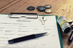 Contract lease key money pen Royalty Free Stock Image