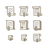 Contract line icons. Nine different contract line icons. Icon set of pact or convention. Vector agreement symbols Royalty Free Stock Image