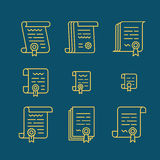 Contract line icons. Nine different contract line icons. Icon set of pact or convention. Vector agreement symbols Stock Photo