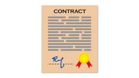 Contract. The Contract. It may be used in Infographics or as a icon. With Stamp and Signature Additional file is transparent in PNG vector illustration