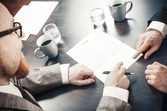 Contract. Men Closing Agreement with Signature Stock Image