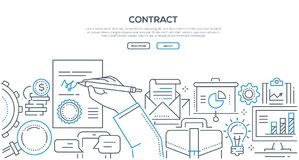 Contract - modern line design style illustration. On white background with place for your text. A composition with a document, hand with a pen drawing a vector illustration