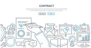 Contract - moderne de stijlillustratie van het lijnontwerp vector illustratie